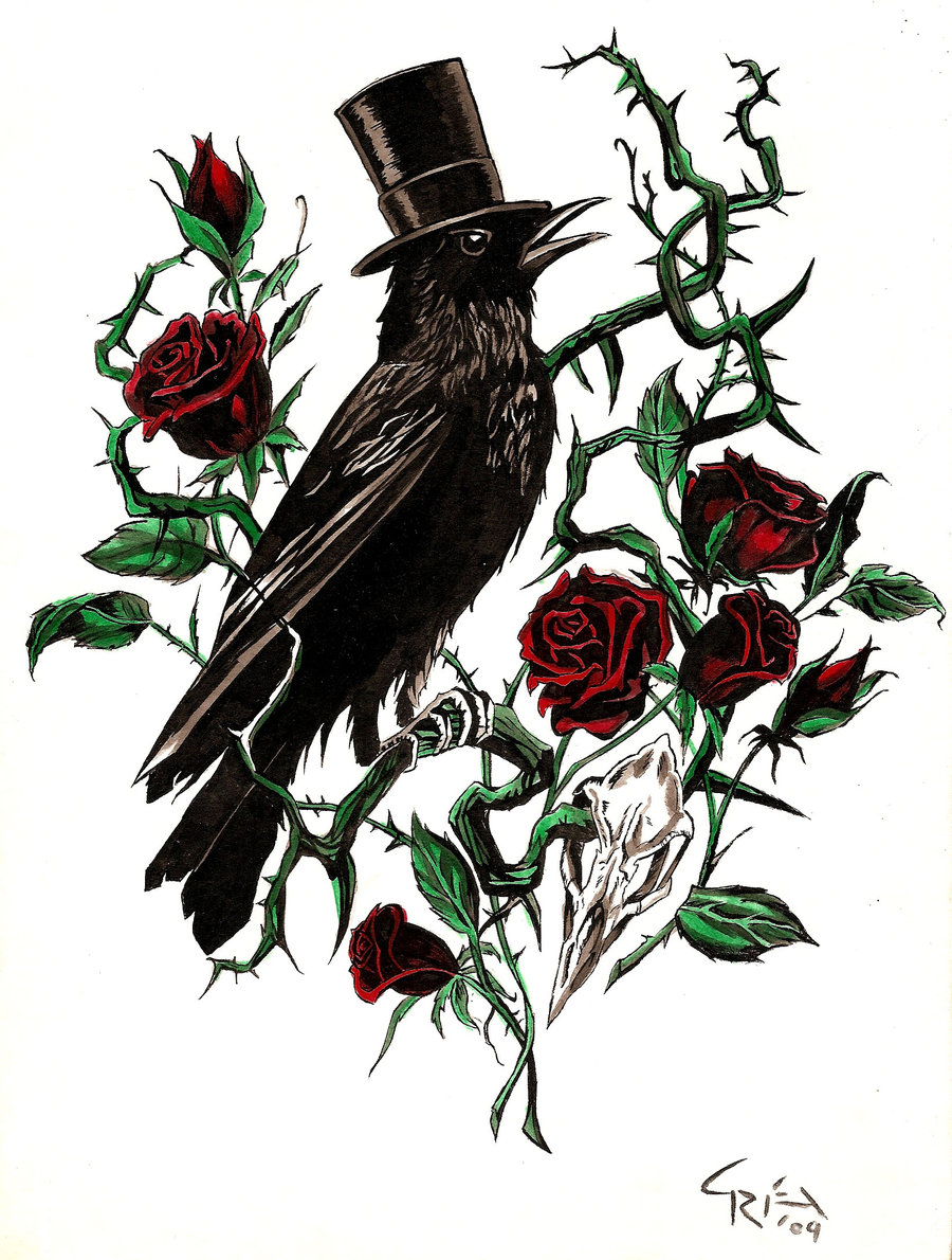 900x1190 Crow And Rose Thorn By Warheart123