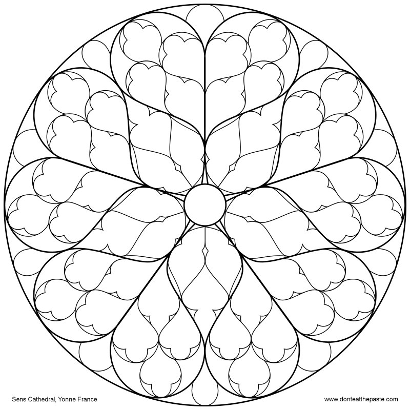 800x800 Rose Window Coloring Pages