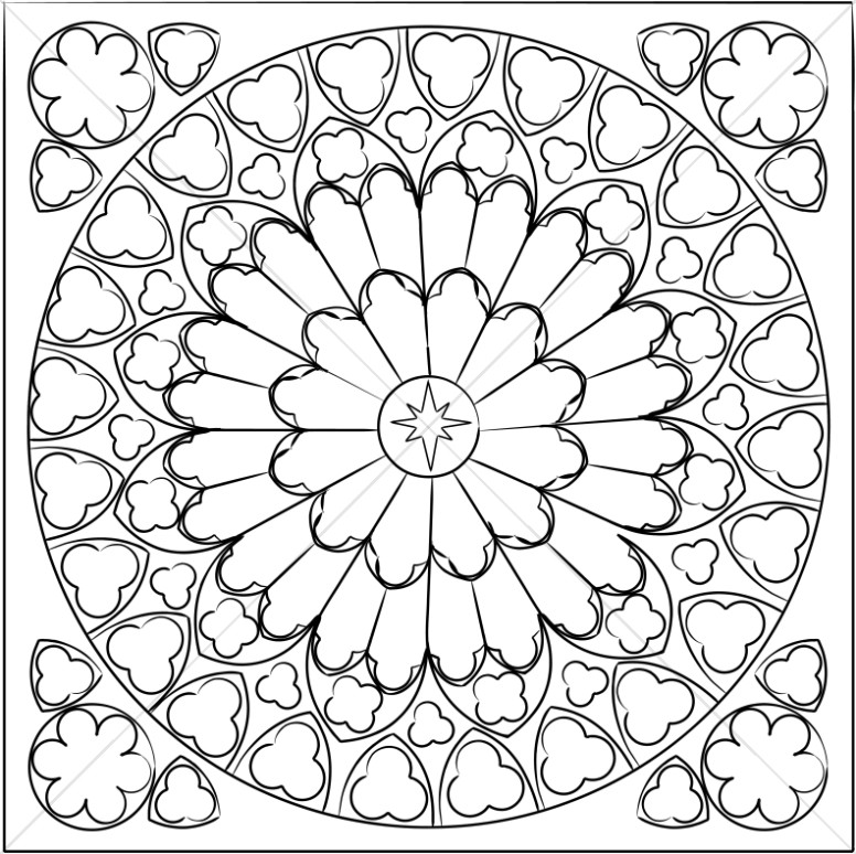 776x774 Black And White Rose Window Sanctuary Clipart