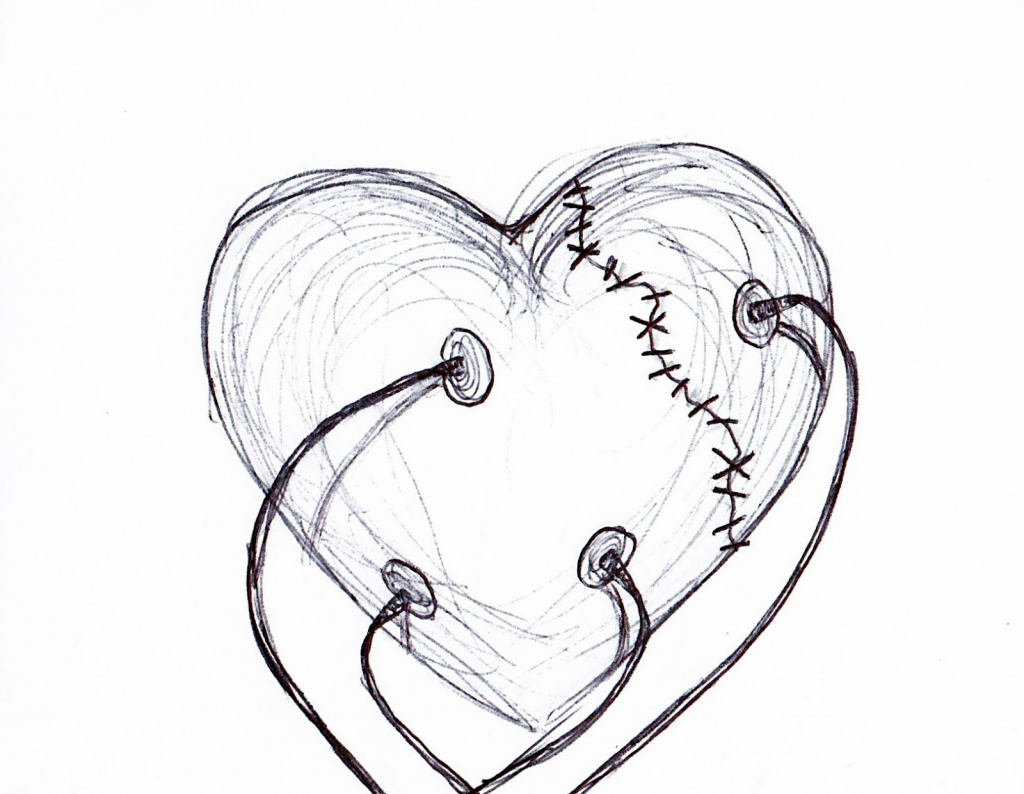 1024x794 Broken Hearts Drawings Broken Heart With Rose Drawings In Pencil