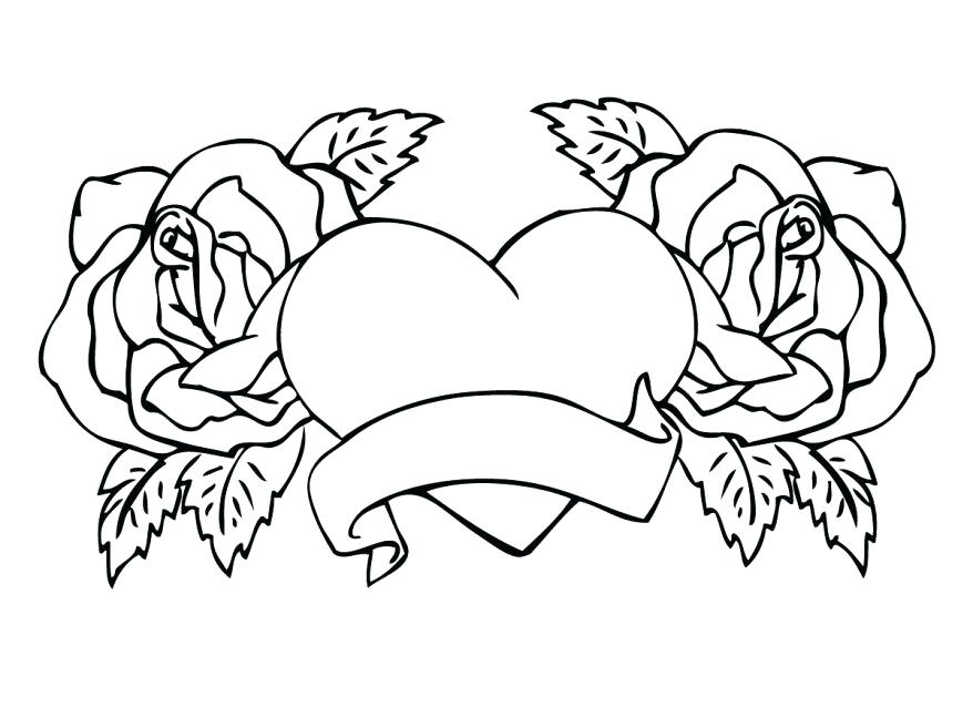 878x638 Roses And Hearts Coloring Pages With Heart