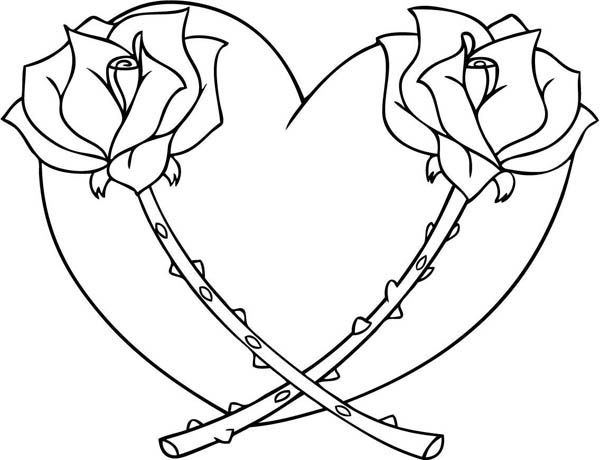 600x460 Heart With Roses Coloring Pages