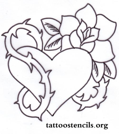 500x563 Rose Amp Thorns Tattoo Stencil~ On We Heart It