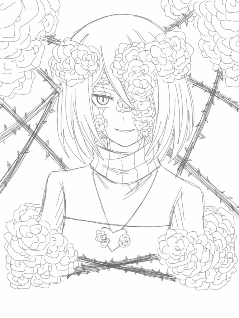 768x1024 Roses And Thorns Wip By Cneko Chan