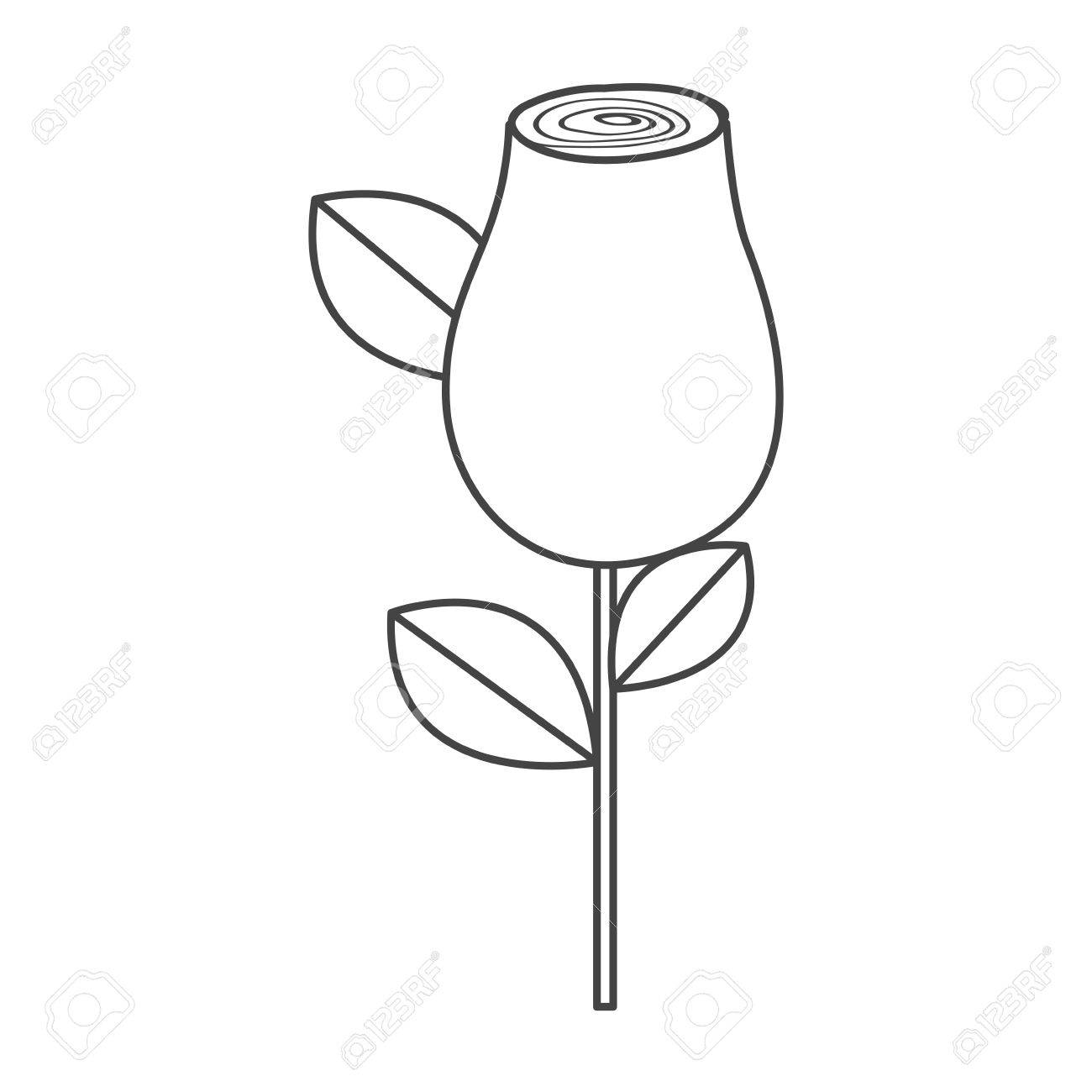 1300x1300 Silhouette Sketch Rosebud With Leaves And Stem Vector Illustration