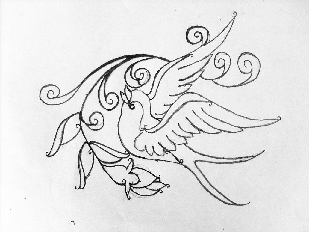 1032x774 Swallow And Rosebud By Racheldee