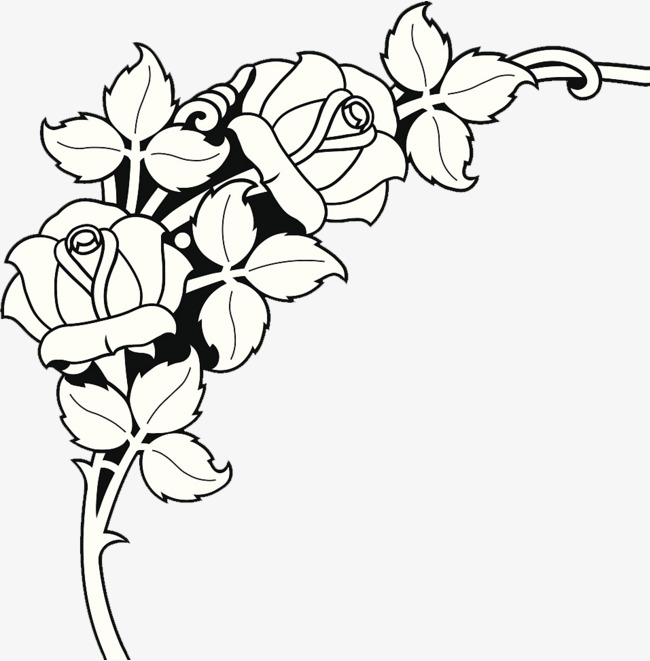 650x661 Chinese Decorative Painting Rose Bud, Line Drawing, Rose