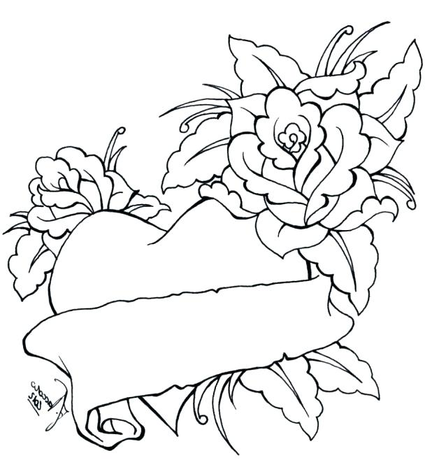 618x678 Coloring Pages Roses And Hearts Flower Pictures To Print