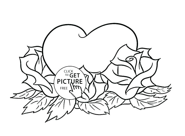 736x542 Coloring Pages Roses And Hearts Free Printable Rose Heart
