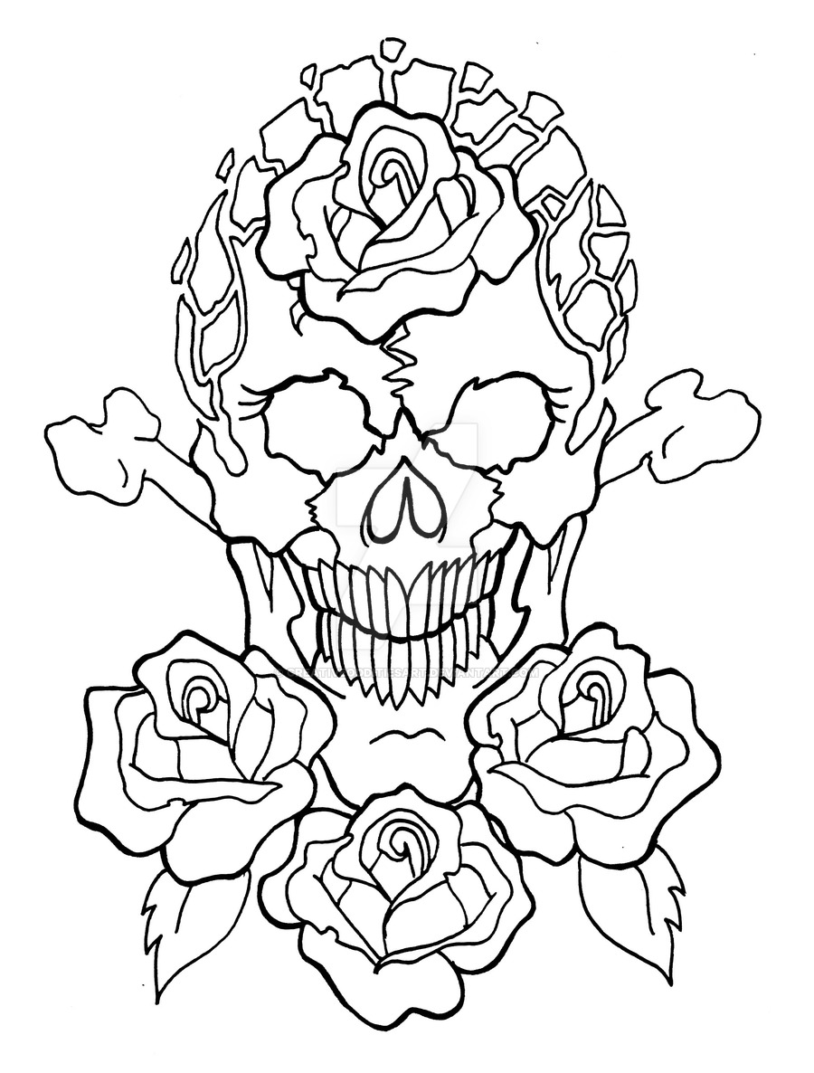 Roses And Skulls Drawing at GetDrawings.com | Free for personal use ...