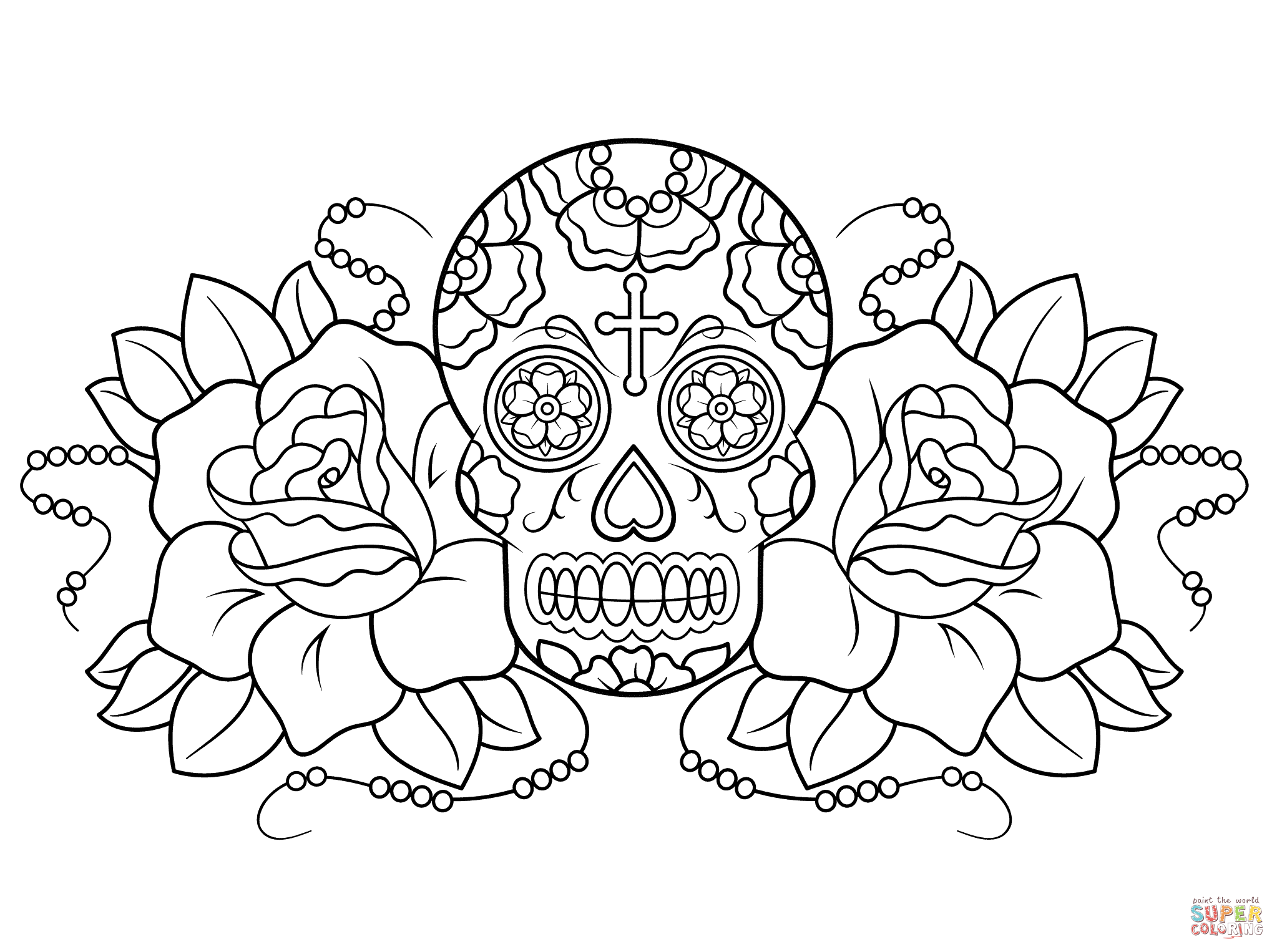 2046x1526 sugar skull and roses coloring page free printable coloring pages