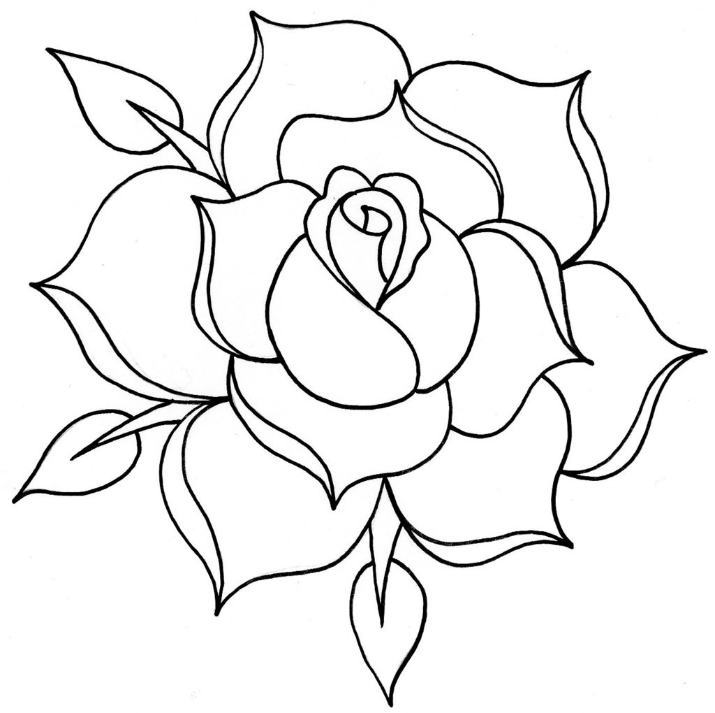 1024x1020 Rose Outline Drawing Line Clipartsco