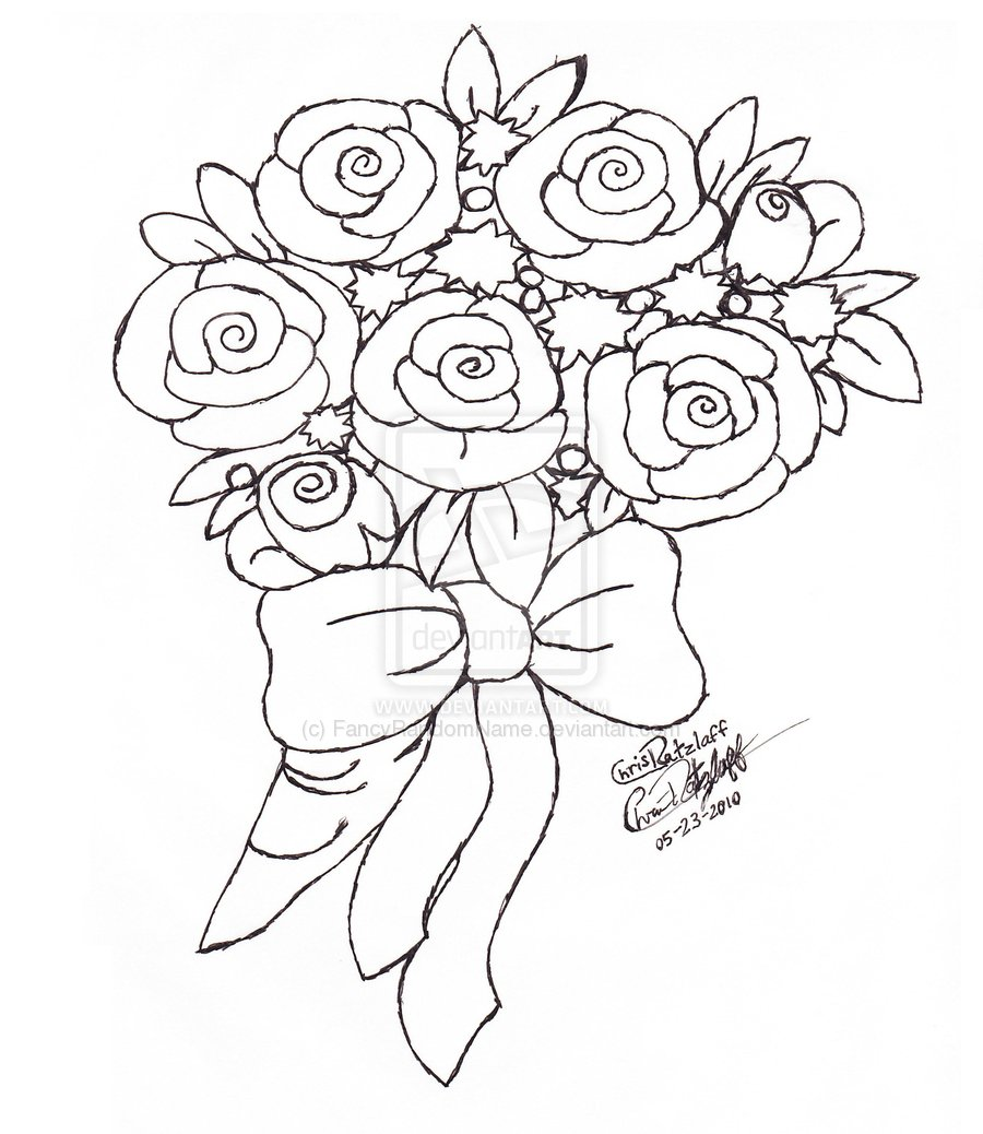 900x1038 Bouquet Roses Drawing