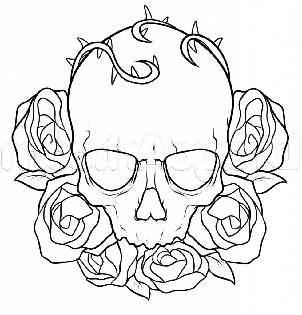 982x1024 Roses Drawing Pictures How To Draw A Skull And Roses Tattoo Step