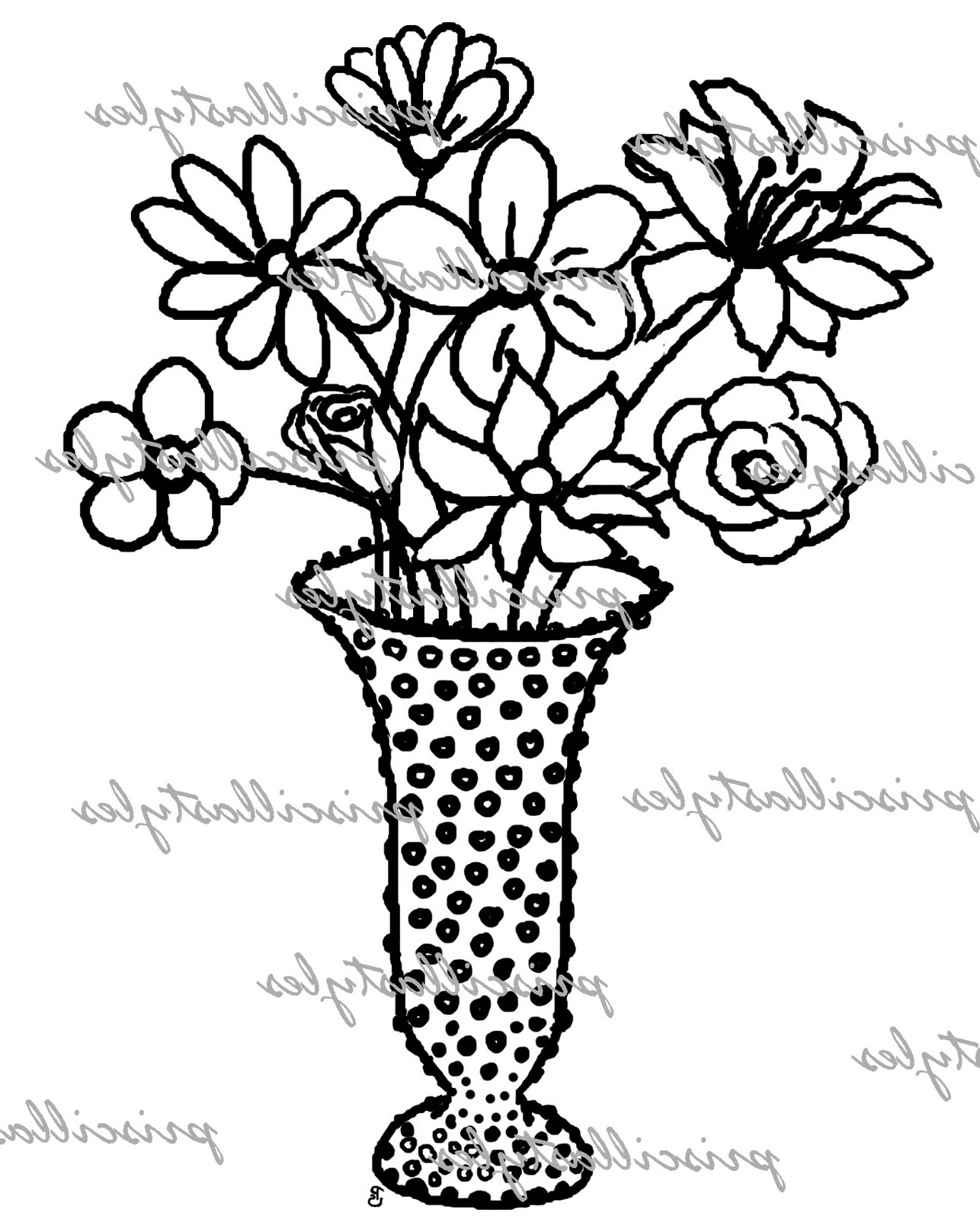 1286x1600 Flower Pots With Roses Drawings Easy Drawing Of Flowers Pot Design