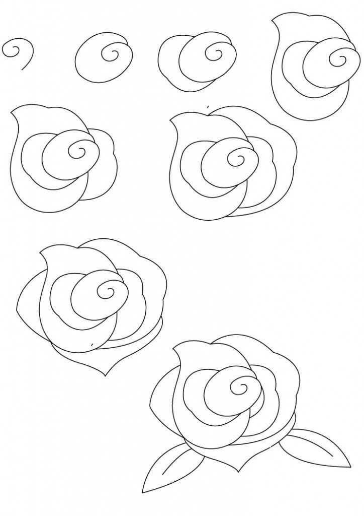 724x1024 Easy Rose Drawing Step By Step Easy Rose Drawing Step Step Easy