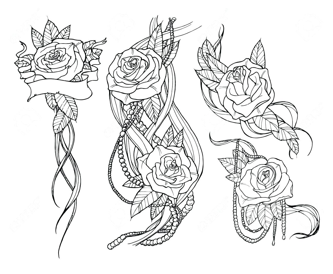 1300x1070 Rose Belt Outline By On 17 Amusing Roses Tattoo Designs Pictures