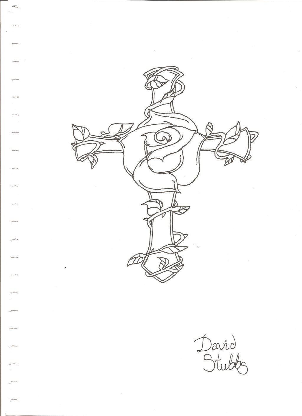 1024x1408 Rose And Cross Tattoo Drawing By Davidstubbs