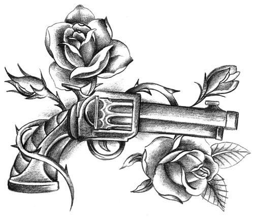 500x428 Gun Roses Tattoo Tattoo Ideas Guns, Tattoo