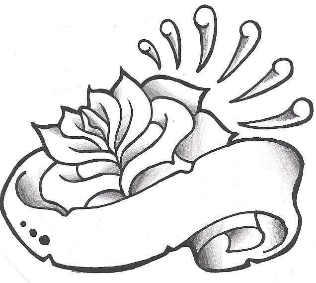 636x569 Collection Of Rose Heart With Banner Tattoo Design