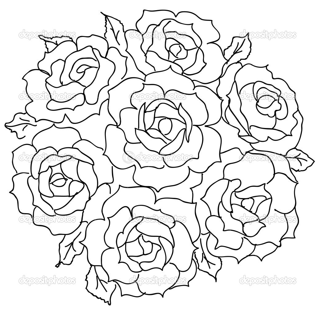 1024x1024 Rose Flower Bunch Drawing Rose Flower Bunch Sketch Images