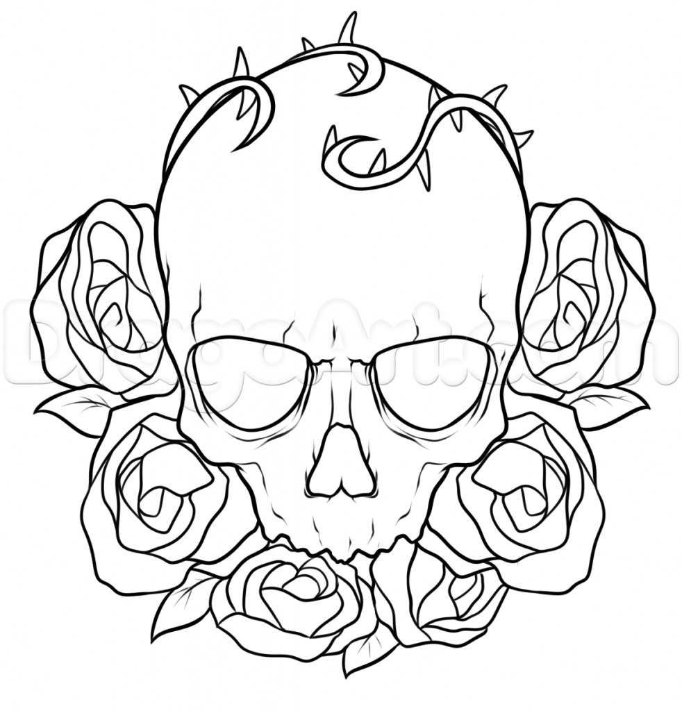982x1024 Drawings Of Roses How To Draw A Skull And Roses Tattoo Step Step