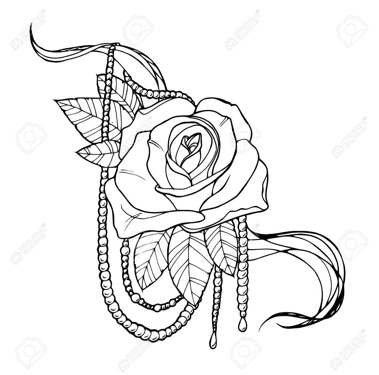 1300x1284 Beautiful Rose Tattoo, Outline Black And White Illustration