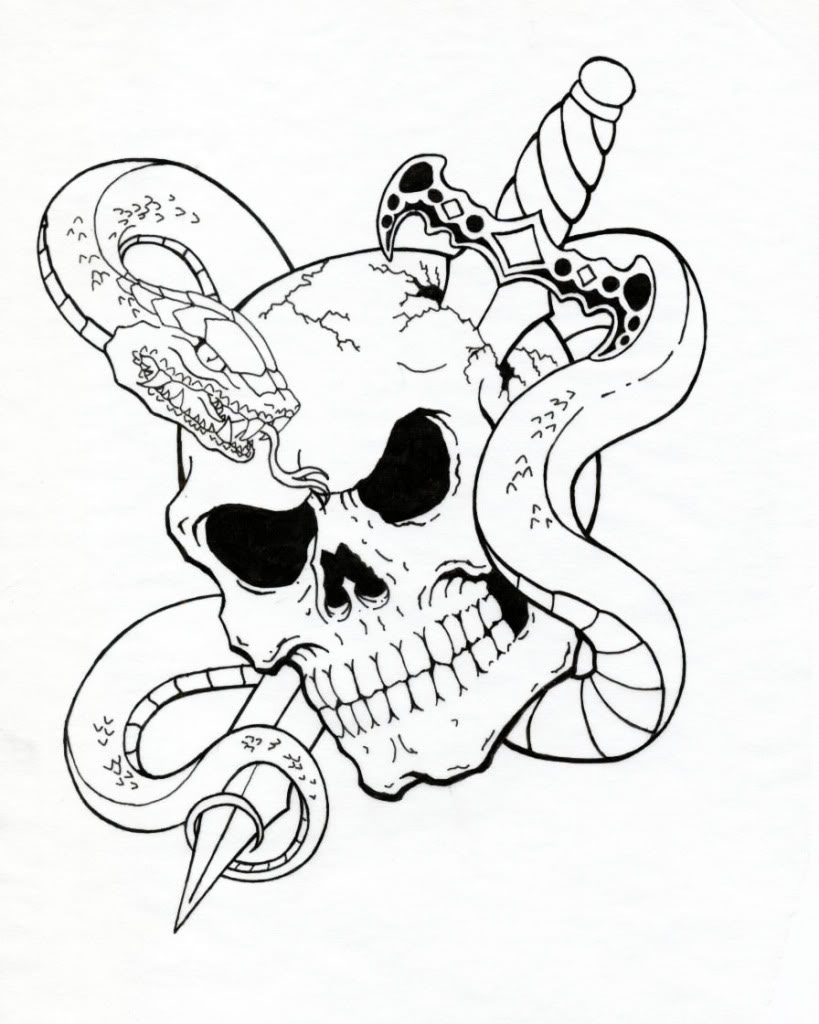819x1024 Snake Skull And Rose Tattoo Sketch