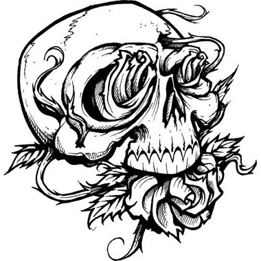 380x380 Black And White Skull With Roses Tattoo