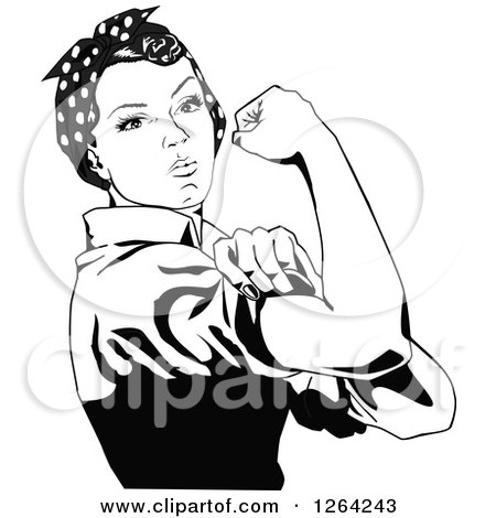 450x470 Black And White Rosie The Riveter Flexing And Facing Right Posters