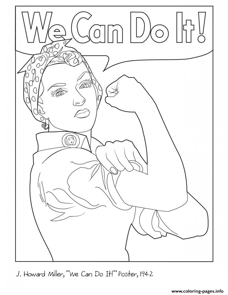 791x1024 Rosie The Riveter Coloring Pages Printable