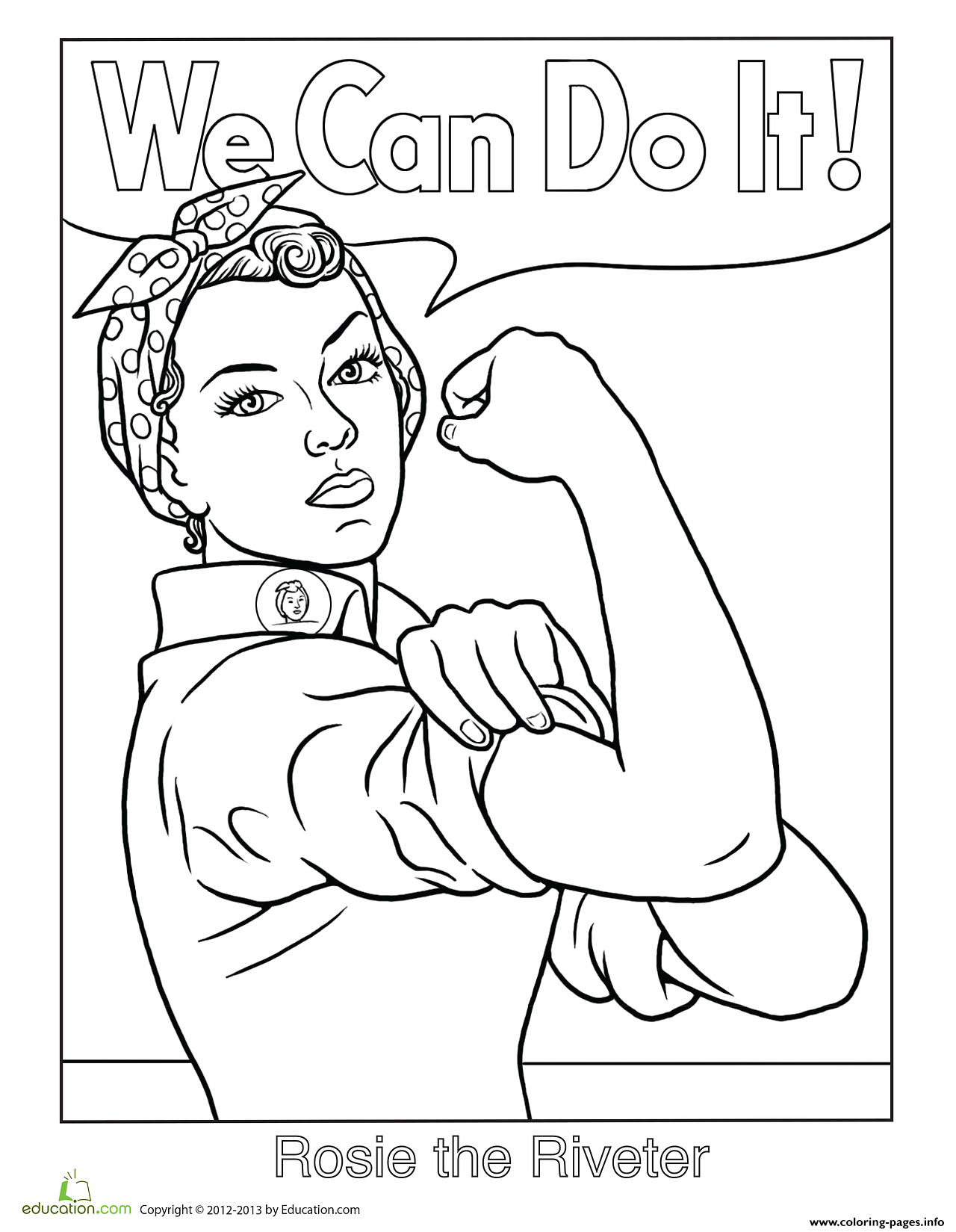 1280x1649 Rosie The Riveter We Can Do It Coloring Pages Printable