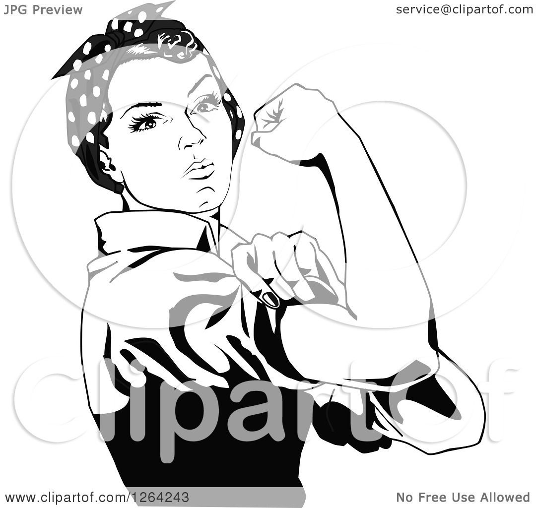 1080x1024 Clipart Of A Black And White Rosie The Riveter Flexing And Facing