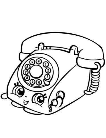 371x480 Chatter Rotary Telephone Shopkin Coloring Page Free Printable