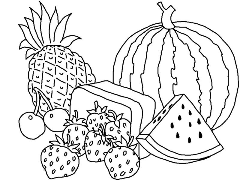 800x600 Various Types Of Fruits Coloring Page Kids Play Color Coloring