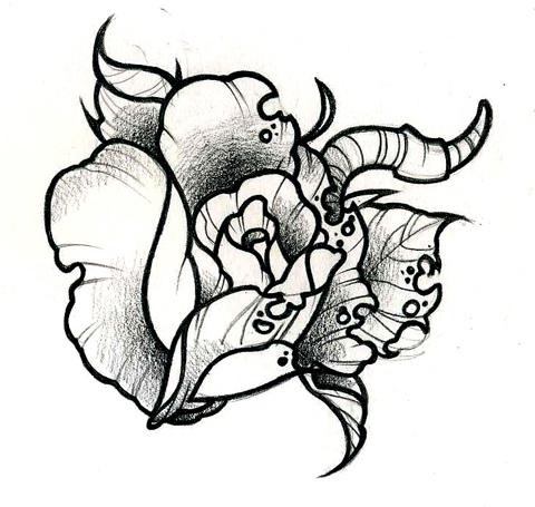 480x455 Half Rotten Rose Half Rotten Rose Tattoo Design