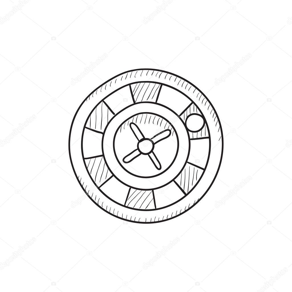 1024x1024 Roulette Wheel Sketch Icon. Stock Vector Rastudio