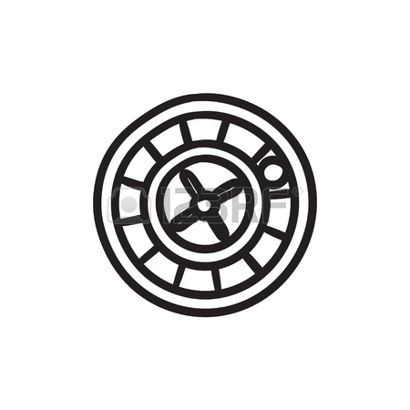 450x450 Roulette Wheel Vector Sketch Icon Isolated On Background. Hand