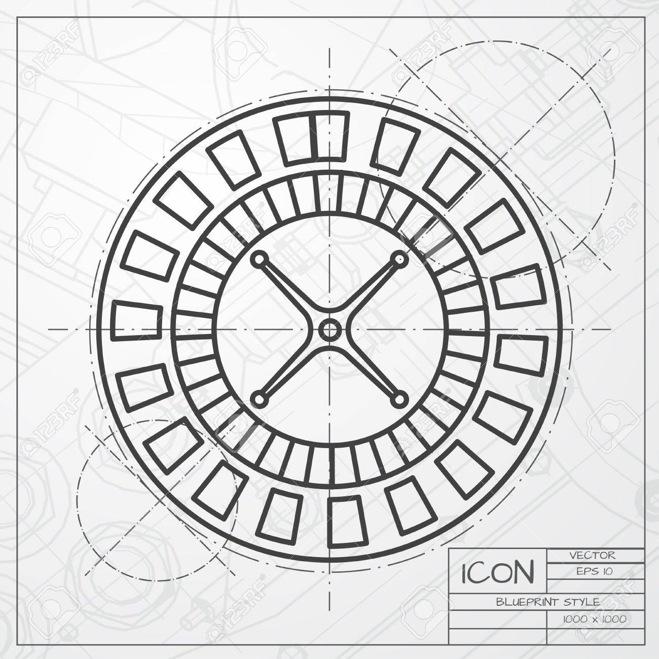 1300x1300 Vector Classic Blueprint Of Casino Roulette Wheel Icon On Engineer