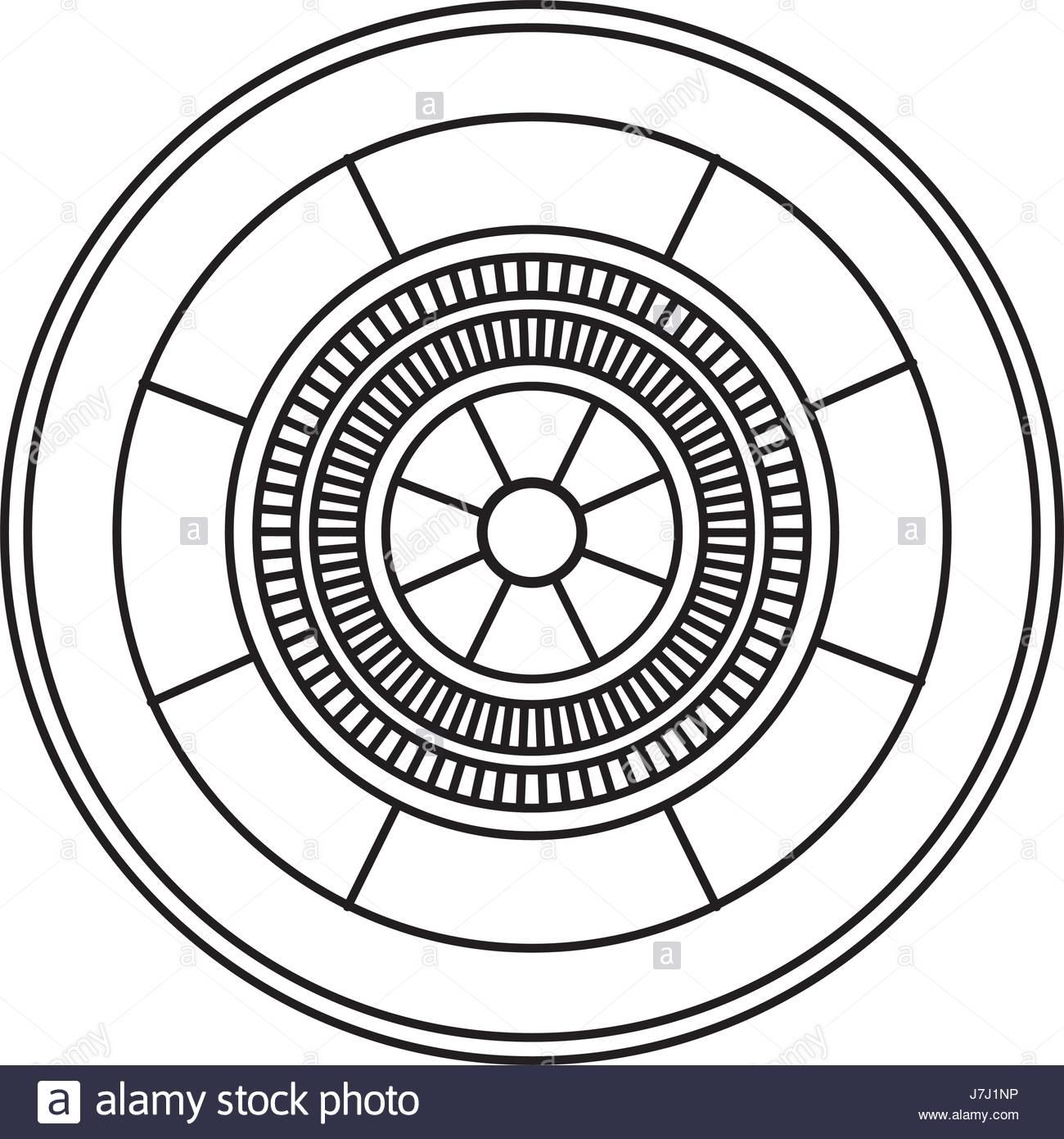 1300x1390 Casino Gambling Roulette Wheel Game Image Outline Stock Vector Art