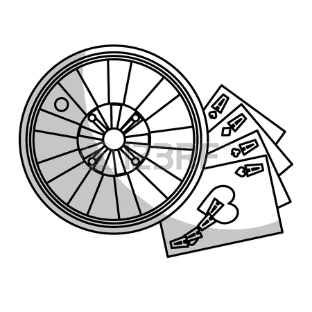 450x450 Casino Roulette Wheel And Poker Cards Over White Background