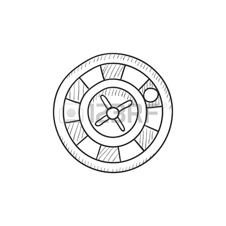 450x450 Casino Roulette Wheel Hand Draw Sketch. Vector Royalty Free
