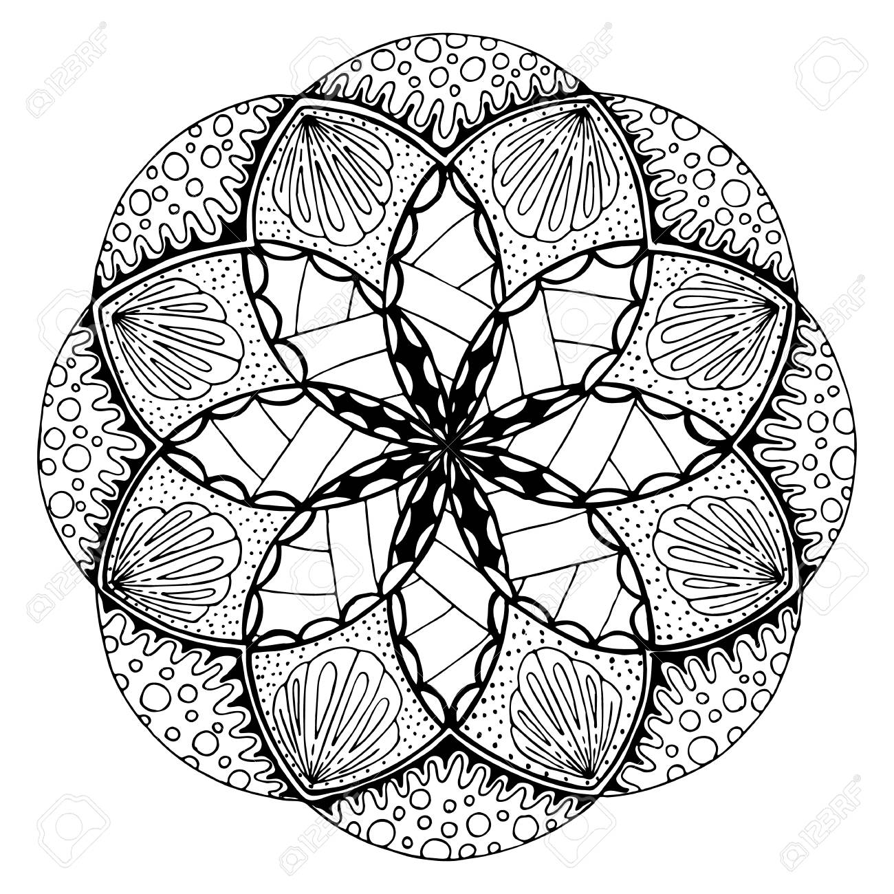 1300x1300 Hand Drawing Mandala, Round Floral Ornament. Pattern For Coloring