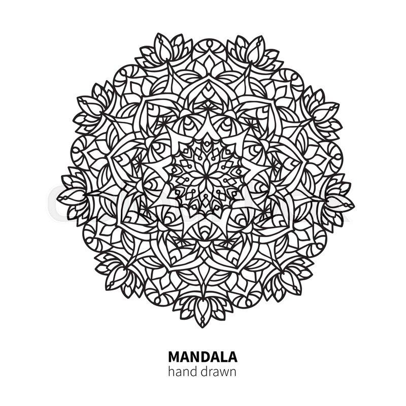 800x800 Mandala Flower Vector Drawing. Decorative Boho Round Ornament