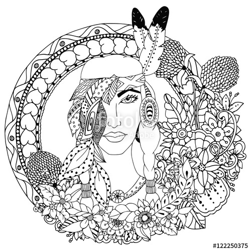 500x500 Vector Illustration , Native American Girl In Round Frame. Doodle