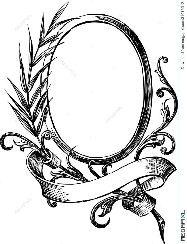 615x800 Vintage Round Frame Illustration 31013312