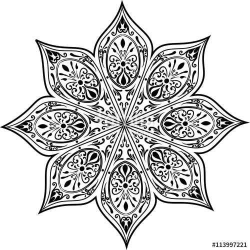 500x500 Drawing Of A Abstract Vector With Floral Round Lace Mandala