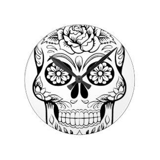 324x324 Drawings Of Skulls Wall Clocks