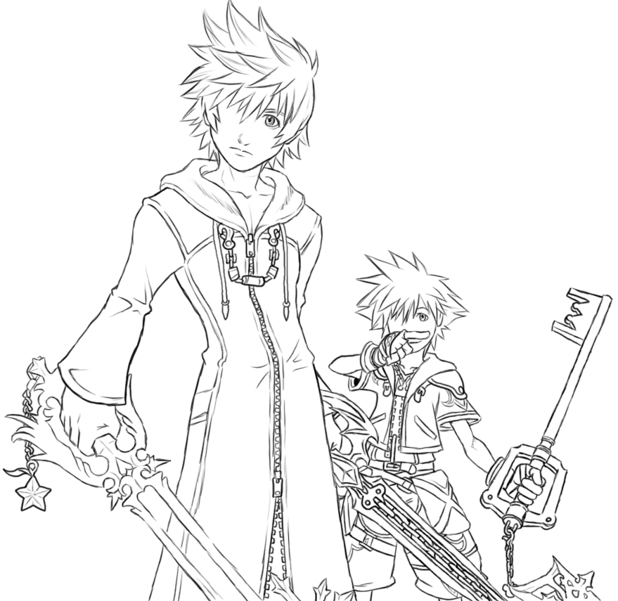 879x855 Roxas And Sora Lineart By AIBryce On DeviantArt