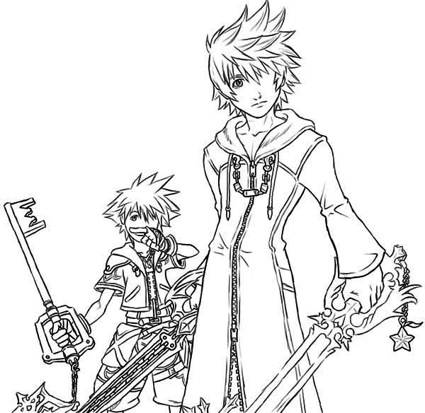 600x584 Drawing Of Roxas And Sora Coloring Page
